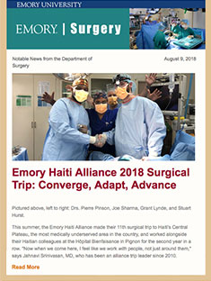 Emory Surgery Newsletter August 9, 2018