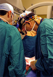 Emory oral and maxillofacial surgeon Dr. Steven Roser and his team in the OR.