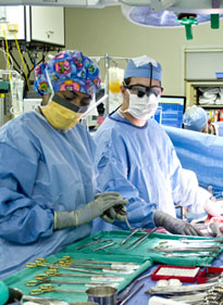 Emory transplant surgeon Dr. Andrew Adams in the OR.